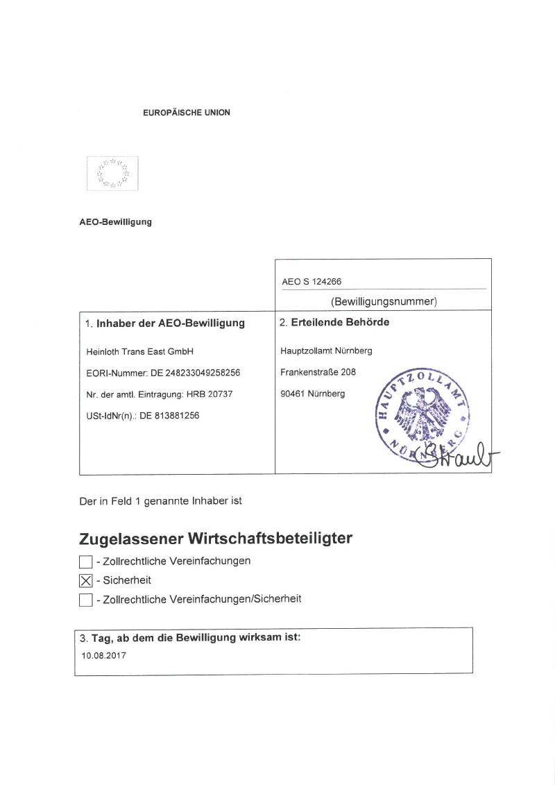 Qualität Zertifizierung Heinloth The Logistic Experts