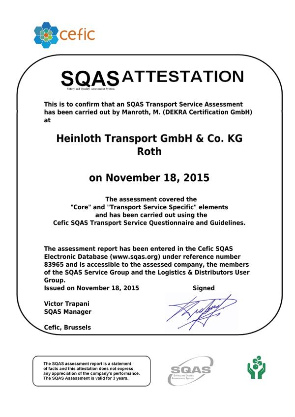 Qualität / Zertifizierung: HEINLOTH - the logistic experts