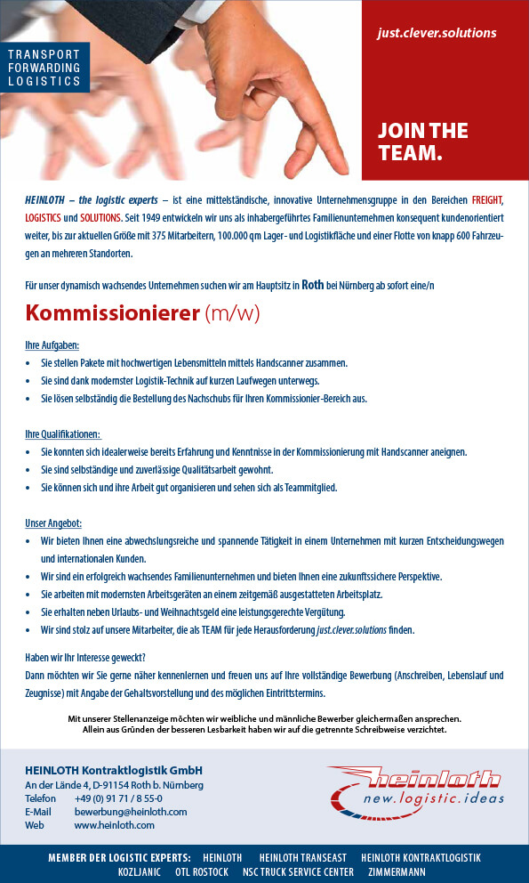 News / Jobs: HEINLOTH - the logistic experts